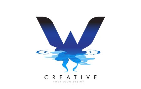 W Letter Logo Design with Water Effect and Deep Blue Gradient Vector Illustration. Template W brand-name companies.