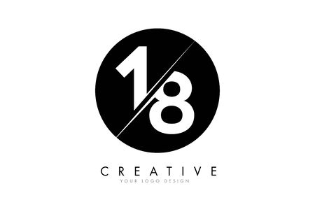 18 1 8 Number Logo Design with a Creative Cut and Black Circle Background. Creative logo design. Ilustração