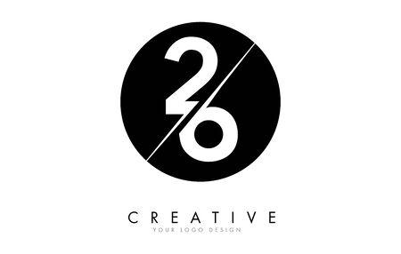 26 2 6 Number Logo Design with a Creative Cut and Black Circle Background. Creative logo design. Ilustração