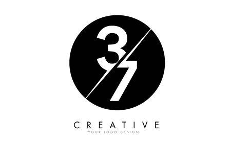 37 3 7 Number Logo Design with a Creative Cut and Black Circle Background. Creative logo design. Ilustração