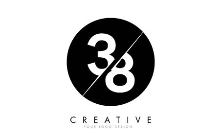 38 3 8 Number Logo Design with a Creative Cut and Black Circle Background. Creative logo design.