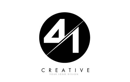 41 4 1 Number Logo Design with a Creative Cut and Black Circle Background. Creative logo design.