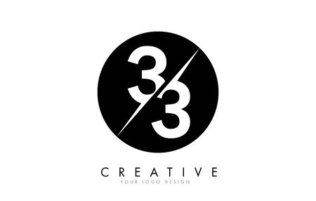 33 3 3 Number Logo Design with a Creative Cut and Black Circle Background. Creative logo design.