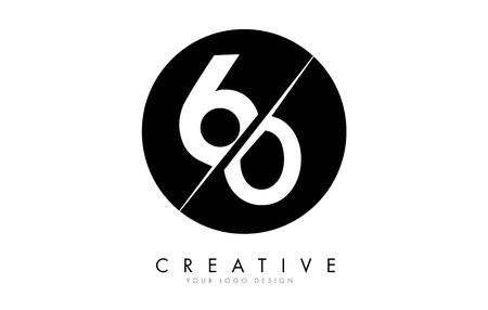 60 6 0 Number Logo Design with a Creative Cut and Black Circle Background. Creative logo design.