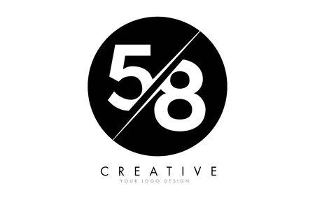 58 5 8 Number Logo Design with a Creative Cut and Black Circle Background. Creative logo design. Ilustração