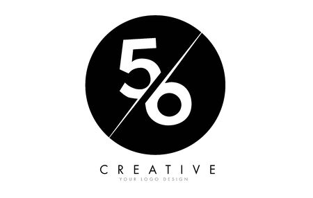 56 5 6 Number Logo Design with a Creative Cut and Black Circle Background. Creative logo design. Ilustração