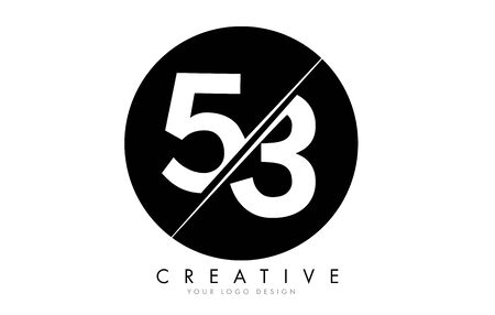 53 5 3 Number Logo Design with a Creative Cut and Black Circle Background. Creative logo design.