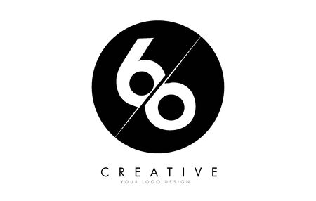 66 6 Number Logo Design with a Creative Cut and Black Circle Background. Creative logo design.