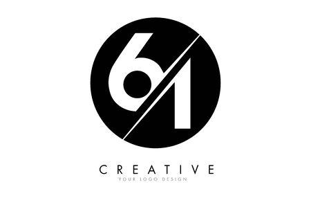 61 6 1 Number Logo Design with a Creative Cut and Black Circle Background. Creative logo design. Ilustração