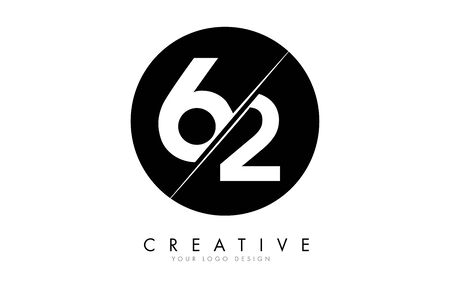 62 6 2 Number Logo Design with a Creative Cut and Black Circle Background. Creative logo design.