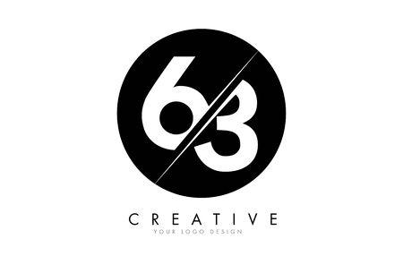 63 6 3 Number Logo Design with a Creative Cut and Black Circle Background. Creative logo design. Ilustração