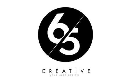 65 6 5 Number Logo Design with a Creative Cut and Black Circle Background. Creative logo design. Ilustração