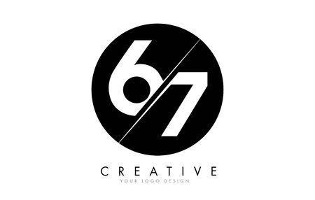67 6 7 Number Logo Design with a Creative Cut and Black Circle Background. Creative logo design.