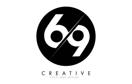 69 6 9 Number Logo Design with a Creative Cut and Black Circle Background. Creative logo design.