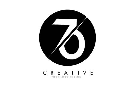 70 7 0 Number Logo Design with a Creative Cut and Black Circle Background. Creative logo design. Ilustracja
