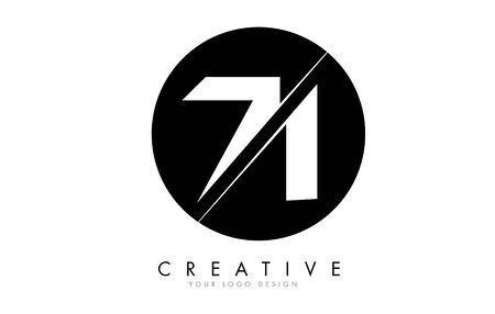 71 7 1 Number Logo Design with a Creative Cut and Black Circle Background. Creative logo design.