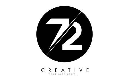 72 7 2 Number Logo Design with a Creative Cut and Black Circle Background. Creative logo design.