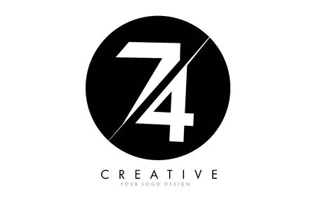 74 7 4 Number Logo Design with a Creative Cut and Black Circle Background. Creative logo design.
