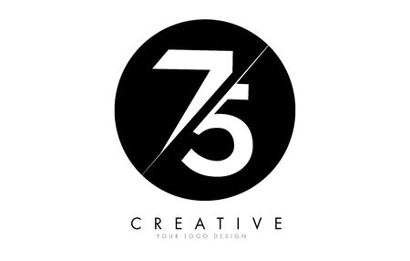 75 7 5 Number Logo Design with a Creative Cut and Black Circle Background. Creative logo design. Ilustracja