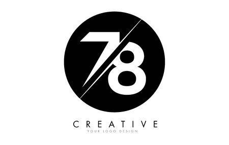 78 7 8 Number Logo Design with a Creative Cut and Black Circle Background. Creative logo design. Ilustração