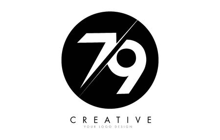 79 7 9 Number Logo Design with a Creative Cut and Black Circle Background. Creative logo design.