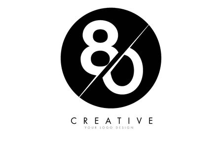 80 8 0 Number Logo Design with a Creative Cut and Black Circle Background. Creative logo design. Ilustracja