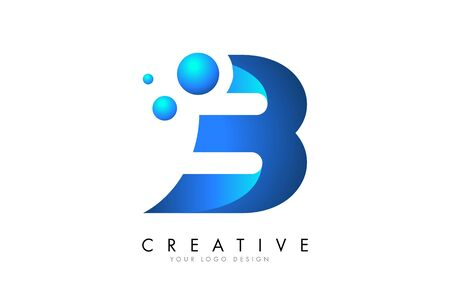 B Letter Logo Design with 3D and Ribbon Effect and Dots. Colorful rounded Letter with blue Gradient. Ilustracja