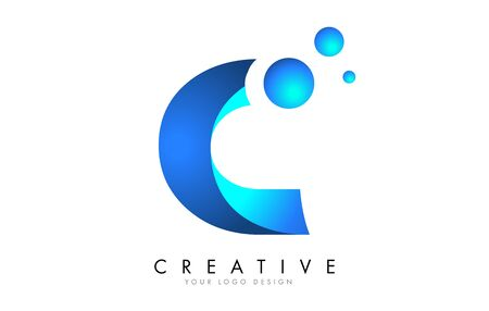 C Letter Logo Design with 3D and Ribbon Effect and Dots. Colorful rounded Letter with blue Gradient.