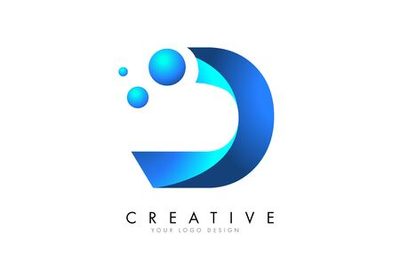 D Letter Logo Design with 3D and Ribbon Effect and Dots. Colorful rounded Letter with Blue Gradient. Ilustracja