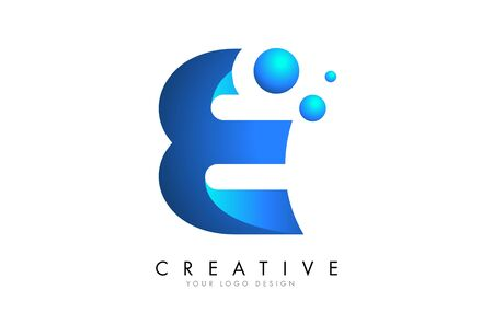 E Letter Logo Design with 3D and Ribbon Effect and Dots. Colorful rounded Letter with Blue Gradient. Ilustracja