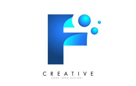 F Letter Logo Design with 3D and Ribbon Effect and Dots. Colorful rounded Letter with Blue Gradient. Ilustracja