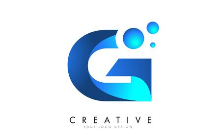 G Letter Logo Design with 3D and Ribbon Effect and Dots. Colorful rounded Letter with Blue Gradient.