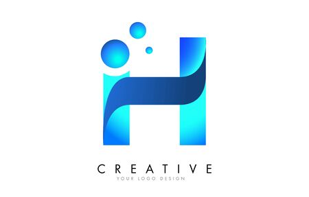 H Letter Logo Design with 3D and Ribbon Effect and Dots. Colorful rounded Letter with Blue Gradient.