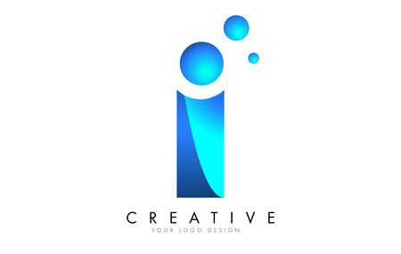 I Letter Logo Design with 3D and Ribbon Effect and Dots. Colorful rounded Letter with Blue Gradient. Ilustracja