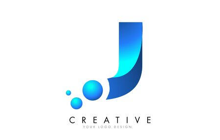 J Letter Logo Design with 3D and Ribbon Effect and Dots. Colorful rounded Letter with Blue Gradient.