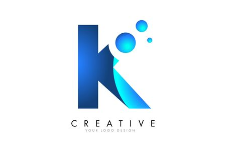 K Letter Logo Design with 3D and Ribbon Effect and Dots. Colorful rounded Letter with Blue Gradient.