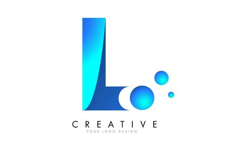 L  Letter Logo Design with 3D and Ribbon Effect and Dots. Colorful rounded Letter with Blue Gradient. Ilustracja