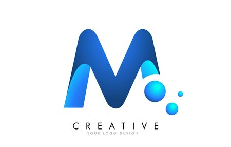 M  Letter Logo Design with 3D and Ribbon Effect and Dots. Colorful rounded Letter with Blue Gradient. Ilustracja