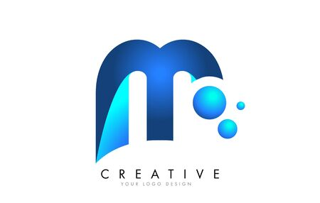 M Letter Logo Design with 3D and Ribbon Effect and Dots. Colorful rounded Letter with Blue Gradient.