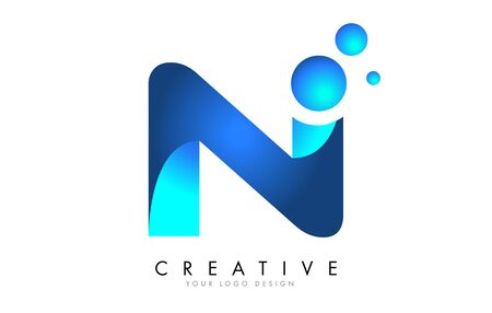 N  Letter Logo Design with 3D and Ribbon Effect and Dots. Colorful rounded Letter with Blue Gradient. Ilustracja