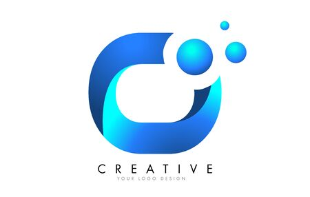O Letter Logo Design with 3D and Ribbon Effect and Dots. Colorful rounded Letter with Blue Gradient.