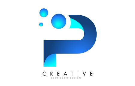 P Letter Logo Design with 3D and Ribbon Effect and Dots. Colorful rounded Letter with Blue Gradient.
