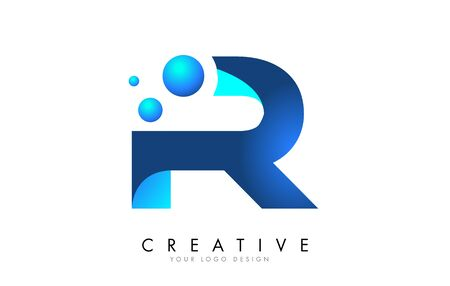 R Letter Logo Design with 3D and Ribbon Effect and Dots. Colorful rounded Letter with Blue Gradient.