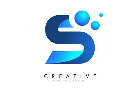 S Letter Logo Design with 3D and Ribbon Effect and Dots. Colorful rounded Letter with Blue Gradient.