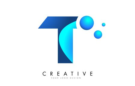 T Letter Logo Design with 3D and Ribbon Effect and Dots. Colorful rounded Letter with Blue Gradient.