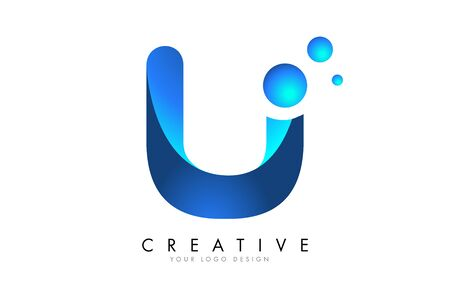 U Letter Logo Design with 3D and Ribbon Effect and Dots. Colorful rounded Letter with Blue Gradient. Ilustracja