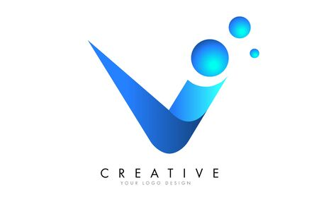 V Letter Logo Design with 3D and Ribbon Effect and Dots. Colorful rounded Letter with Blue Gradient.