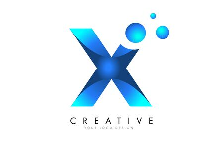 X Letter Logo Design with 3D and Ribbon Effect and Dots. Colorful rounded Letter with Blue Gradient. Ilustracja