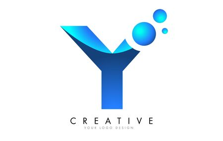 Y Letter Logo Design with 3D and Ribbon Effect and Dots. Colorful rounded Letter with Blue Gradient. Ilustracja