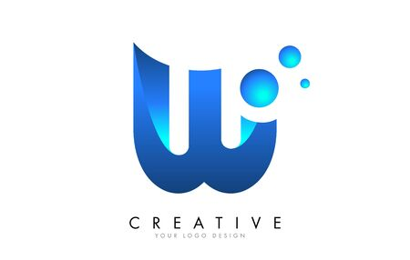 W Letter Logo Design with 3D and Ribbon Effect and Dots. Colorful rounded Letter with Blue Gradient.